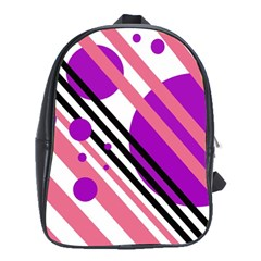 Purple lines and circles School Bags (XL)