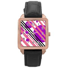 Purple lines and circles Rose Gold Leather Watch