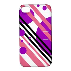 Purple lines and circles Apple iPhone 4/4S Hardshell Case with Stand