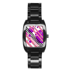 Purple lines and circles Stainless Steel Barrel Watch