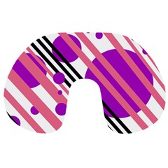 Purple lines and circles Travel Neck Pillows
