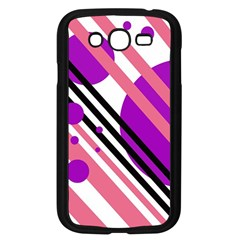 Purple lines and circles Samsung Galaxy Grand DUOS I9082 Case (Black)