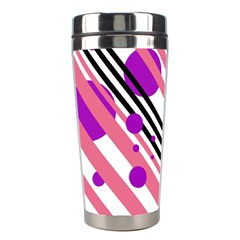 Purple lines and circles Stainless Steel Travel Tumblers