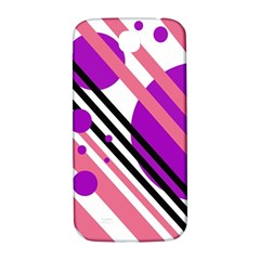 Purple lines and circles Samsung Galaxy S4 I9500/I9505  Hardshell Back Case