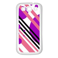 Purple lines and circles Samsung Galaxy S3 Back Case (White)