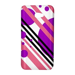 Purple lines and circles HTC Butterfly S/HTC 9060 Hardshell Case