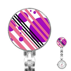 Purple lines and circles Stainless Steel Nurses Watch