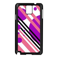 Purple lines and circles Samsung Galaxy Note 3 N9005 Case (Black)