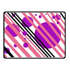 Purple lines and circles Double Sided Fleece Blanket (Small)