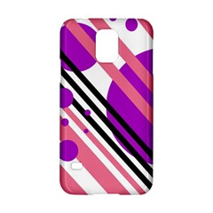 Purple lines and circles Samsung Galaxy S5 Hardshell Case