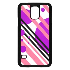 Purple lines and circles Samsung Galaxy S5 Case (Black)