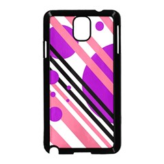 Purple lines and circles Samsung Galaxy Note 3 Neo Hardshell Case (Black)