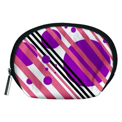 Purple lines and circles Accessory Pouches (Medium)
