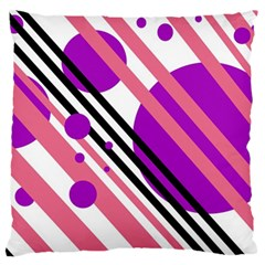 Purple lines and circles Standard Flano Cushion Case (One Side)