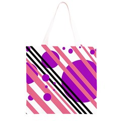 Purple lines and circles Grocery Light Tote Bag