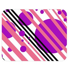 Purple lines and circles Double Sided Flano Blanket (Medium)