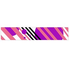 Purple lines and circles Flano Scarf (Large)