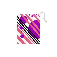 Purple lines and circles Drawstring Pouches (XS)