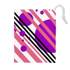 Purple lines and circles Drawstring Pouches (Extra Large)