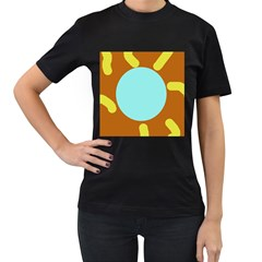 Abstract sun Women s T-Shirt (Black) (Two Sided)