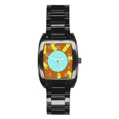 Abstract sun Stainless Steel Barrel Watch