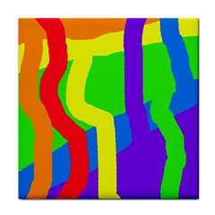 Rainbow abstraction Tile Coasters