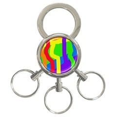 Rainbow abstraction 3-Ring Key Chains