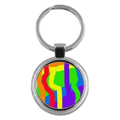 Rainbow abstraction Key Chains (Round)