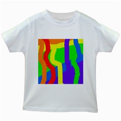 Rainbow abstraction Kids White T-Shirts