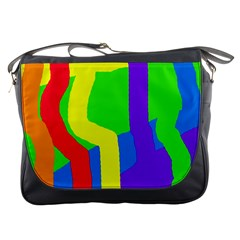 Rainbow abstraction Messenger Bags