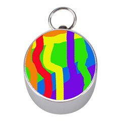 Rainbow abstraction Mini Silver Compasses