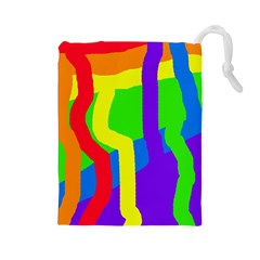 Rainbow abstraction Drawstring Pouches (Large)