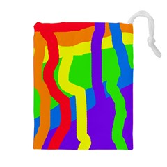 Rainbow abstraction Drawstring Pouches (Extra Large)