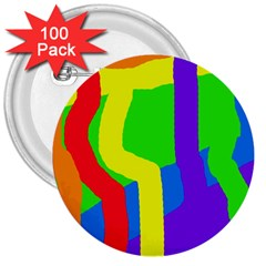 Rainbow abstraction 3  Buttons (100 pack)
