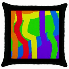 Rainbow abstraction Throw Pillow Case (Black)