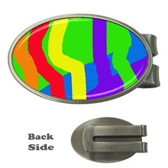 Rainbow abstraction Money Clips (Oval)