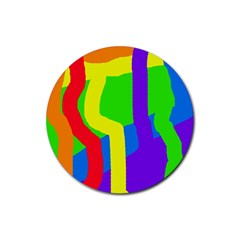 Rainbow abstraction Rubber Round Coaster (4 pack)
