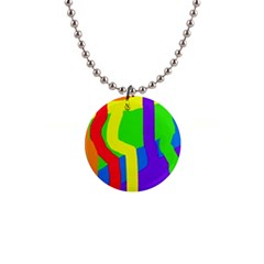Rainbow abstraction Button Necklaces