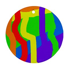 Rainbow abstraction Round Ornament (Two Sides)