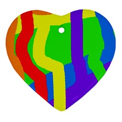 Rainbow abstraction Heart Ornament (2 Sides)