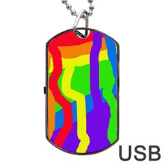 Rainbow abstraction Dog Tag USB Flash (Two Sides)