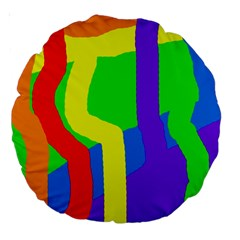 Rainbow abstraction Large 18  Premium Round Cushions