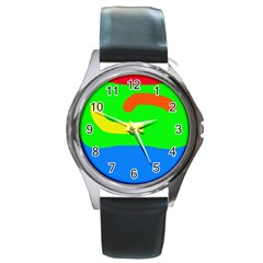 Rainbow abstraction Round Metal Watch