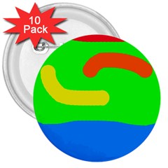 Rainbow abstraction 3  Buttons (10 pack)