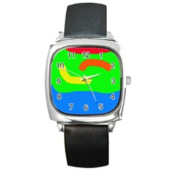 Rainbow abstraction Square Metal Watch