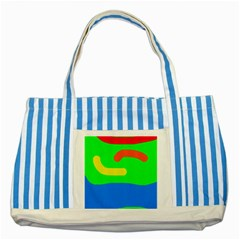 Rainbow abstraction Striped Blue Tote Bag