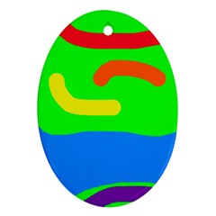 Rainbow abstraction Oval Ornament (Two Sides)