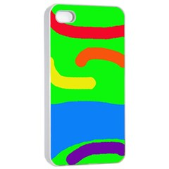 Rainbow abstraction Apple iPhone 4/4s Seamless Case (White)