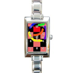 Multicolor abstraction Rectangle Italian Charm Watch