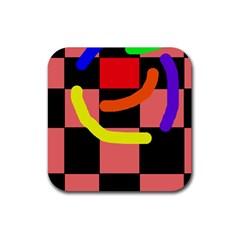 Multicolor abstraction Rubber Coaster (Square)